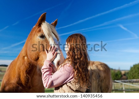 Girl petting a horse in the paddock on a bright sunny day - stock photo