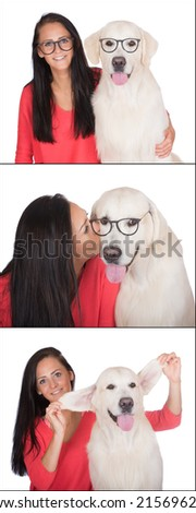 girl photobooth with her dog - stock photo
