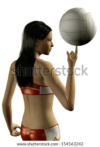 GIRL PLAY VOLLEYBALL - 3D