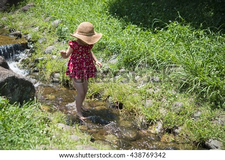 Girl play with water