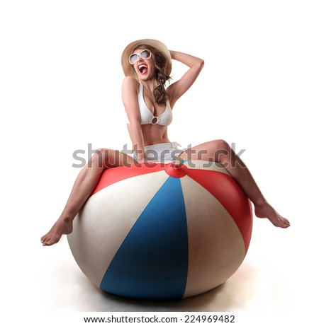 Girl playing and laughing  - stock photo