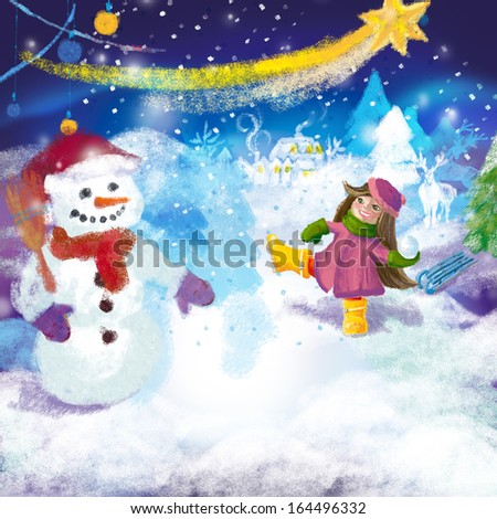 Girl playing snowball fight and making snowman outdoors on snowed winter forest background - stock photo