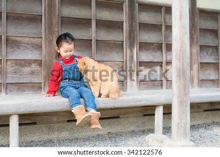 Girl playing with cat - stock photo