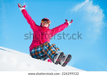 Girl playing with snow    - stock photo