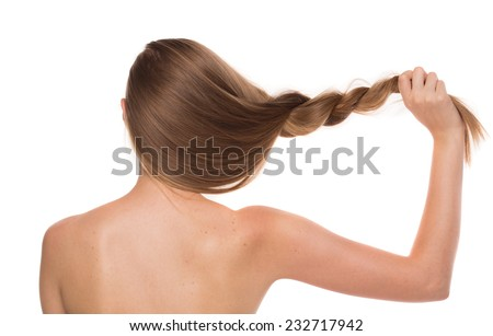 Girl portrait from back. Isolated on a white background. - stock photo