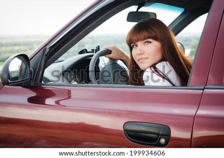 girl portrait in the car - stock photo