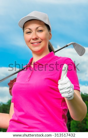 Girl portrait satisfied game of golf against the sky - stock photo