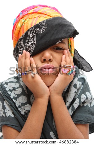 girl posing as a pirate
