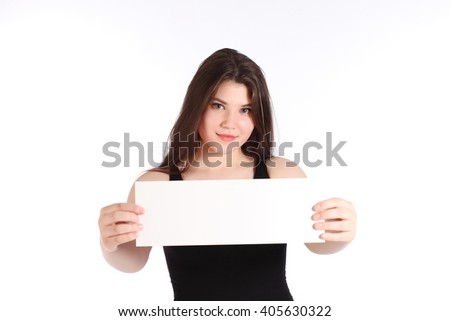 Girl posing in a studio on white background