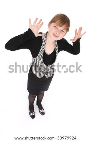 Girl posing in studio. Isolated on white. - stock photo