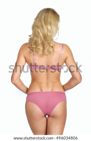 Girl posing in underwear on a white background
