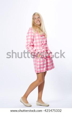 girl posing isolated on white background - stock photo