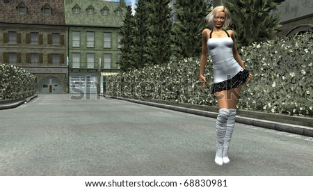 girl posing on the road - stock photo