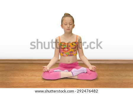 girl practices yoga - stock photo