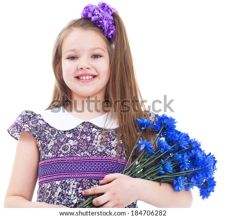 girl, preschooler, smile and flowers.-charming little girl with a bouquet of flowers. isolated on white background. - stock photo