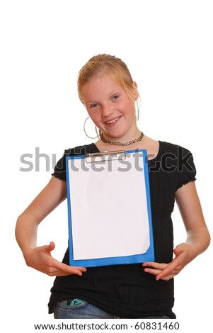 Girl presenting an empty copyspace