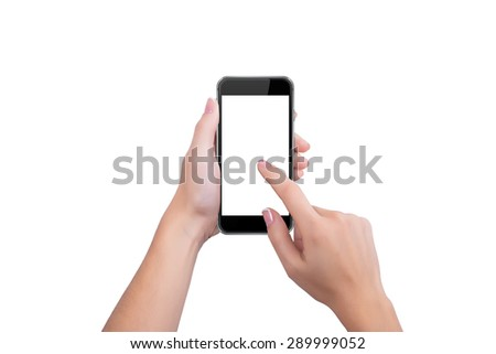 Girl presses the black phone screen finger of a hand - stock photo