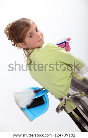 Girl pretending to be a cleaner