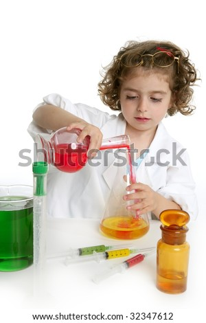 Girl pretending to be doctor in the laboratory - stock photo