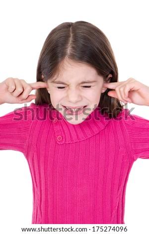Girl putting finger on her ears - stock photo