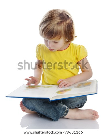 girl reading a book. isolated on white background - stock photo