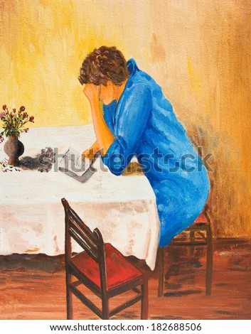 Girl reading a sad letter. Oil painting. - stock photo