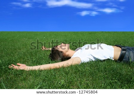 girl rests on herb