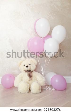 Girl's Birthday. Maternity. Waiting for baby-girl. Bear toy - stock photo