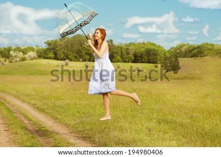 Girl's dream of a flight. - stock photo