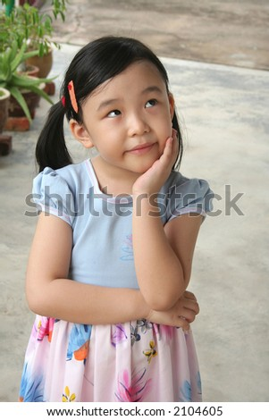 Girl's hand holding chin with wondering expression in a daze - stock photo