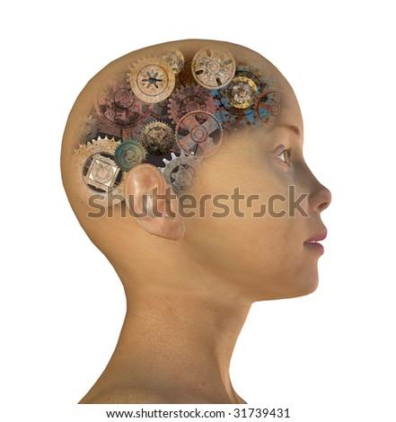 girl's head with gears - stock photo