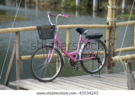 Girlâ??s pink bicycle on a wooden bridge - stock photo