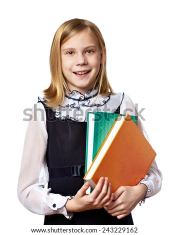 Girl schoolgirl with a two books isolated - stock photo