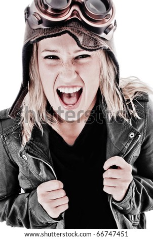 Girl Screaming with Steam Punk Goggles, Aviation Hat and Leather Jacket - stock photo