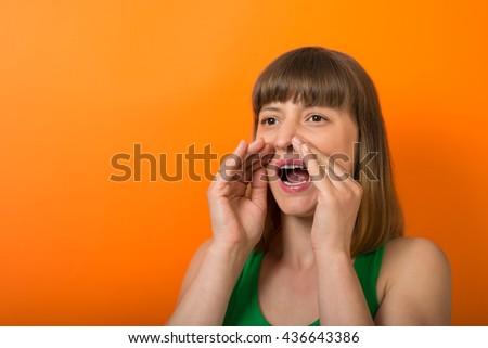 girl screams - stock photo