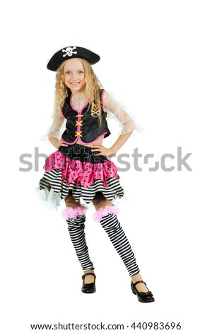 Girl seven years old wearing a pirate carnival costume for Halloween;  - stock photo