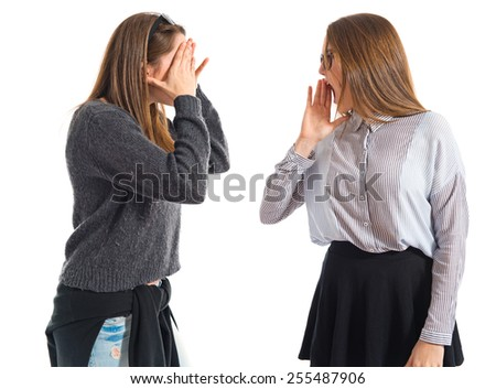 Girl shouting over white background
