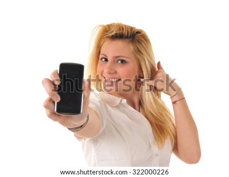 Girl showing a mobile phone
