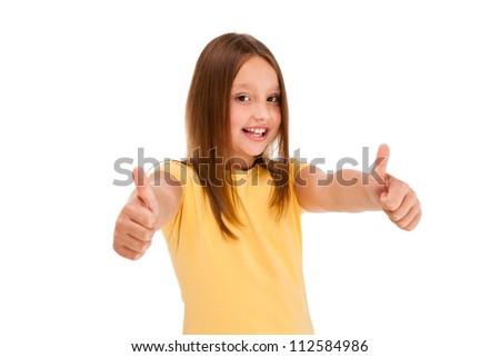 Girl showing OK sign isolated on white background - stock photo