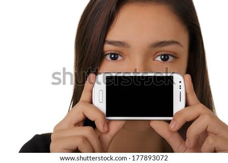 Girl Showing Smart Phone Screen - Beautiful girl holding a smart phone up, showing the screen.  - stock photo