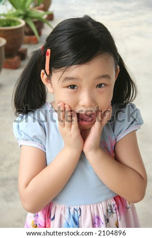 Girl showing surprised and shocked face experience - stock photo