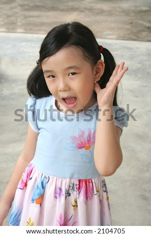 Girl showing surprised and shocked face expression - stock photo