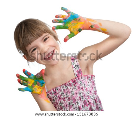 Girl Shows hand covered in paint on a white background