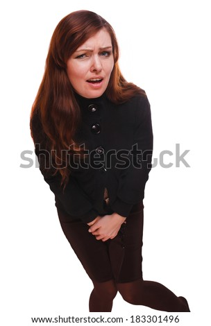 girl sick woman abdominal pain and diarrhea bladder cystitis wants the toilet isolated on white background - stock photo