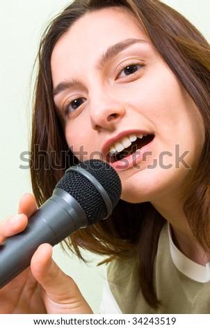 Girl Singing  Mic - stock photo