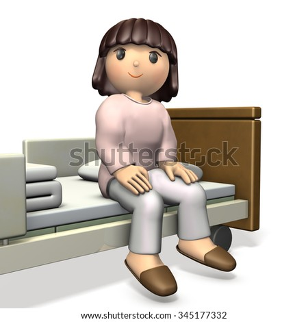 Girl sitting on bed was completely healed. isolated, computer generated image - stock photo