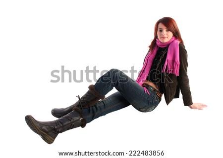 Girl sitting on the floor. - stock photo