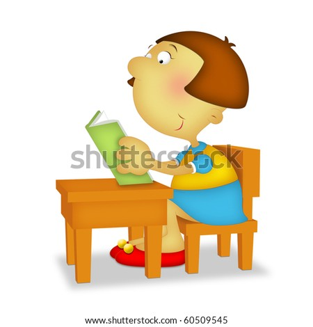Girl sitting reading a book. - stock photo
