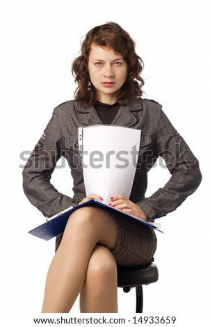 Girl sitting with document folder isolated