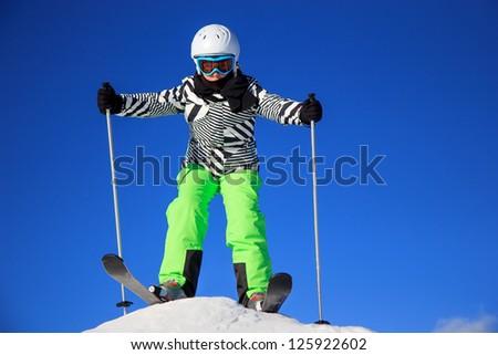 Girl ski - stock photo